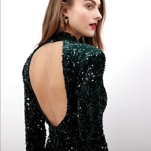 Donna Morgan Open Back Mock Sequin Dress NWT